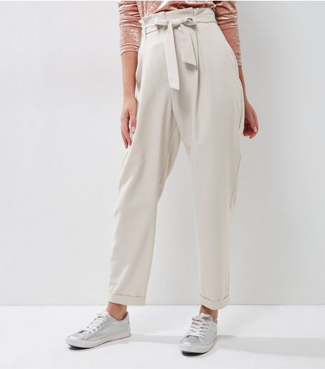 Mink Pleated Tie Waist Trousers | New Look