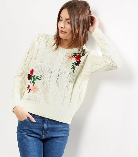 Blue Vanilla Cream Floral Print Jumper  | New Look