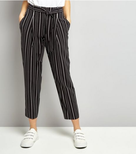 Black Stripe Tie Waist Trousers | New Look