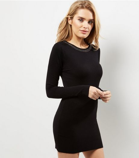 Blue Vanilla Embellished Trim Long Sleeve Dress | New Look