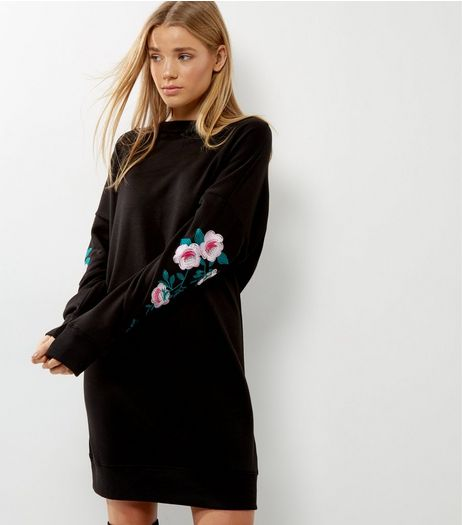 Black Floral Embroidered Sleeve Jumper Dress  | New Look