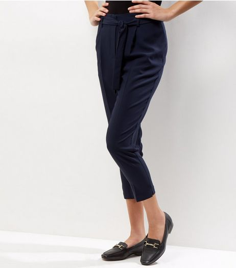 Petite Navy Tie Front Cropped Trousers | New Look