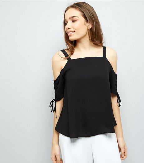 Black Cold Shoulder Tie Sleeve Top  | New Look