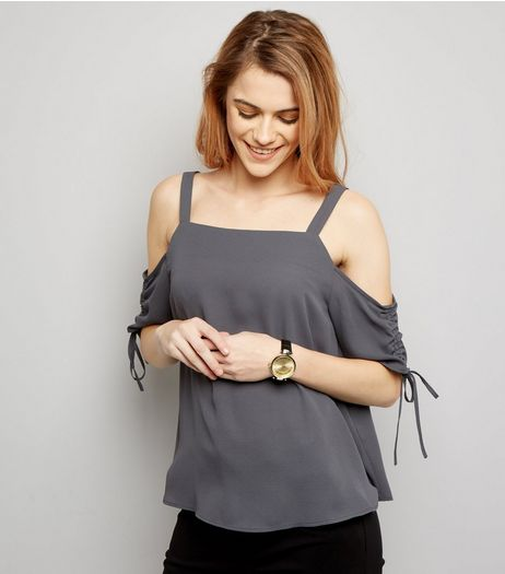 Dark Grey Tie Sleeve Cold Shoulder Top  | New Look