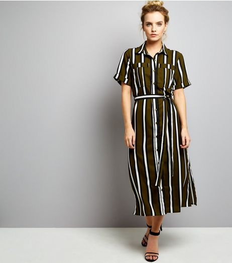 Petite Green Stripe Short Sleeve Shirt Dress | New Look