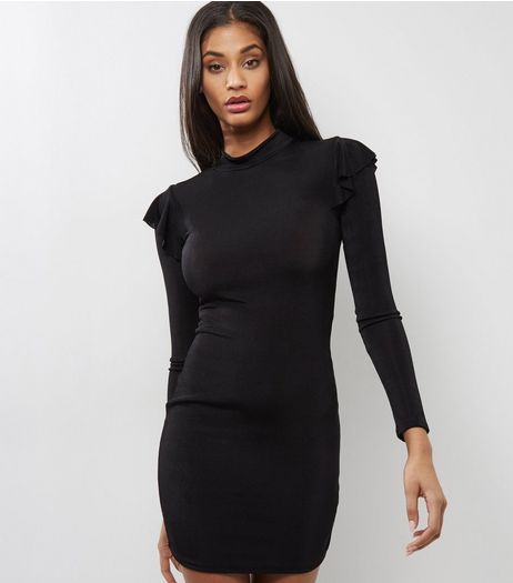 Black Frill Trim Funnel Neck Bodycon Dress | New Look