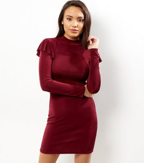 Burgundy Frill Trim Funnel Neck Bodycon Dress | New Look