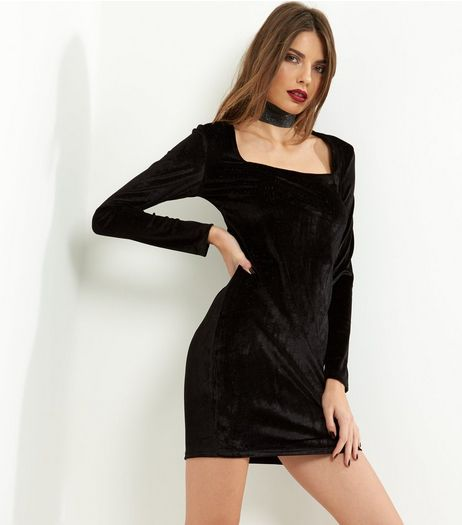 Blue Vanilla Black Velvet Long Sleeve Dress  | New Look