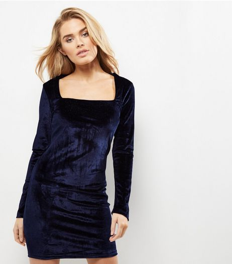 Blue Vanilla Navy Velvet Long Sleeve Dress | New Look
