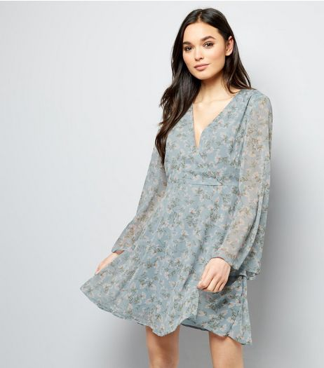 Blue Floral Print Flared Sleeve Wrap Front Dress  | New Look