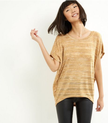 Blue Vanilla Gold Metallic Oversized Top  | New Look