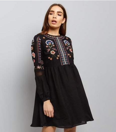 Black Embroidered Long Sleeve Smock Dress  | New Look
