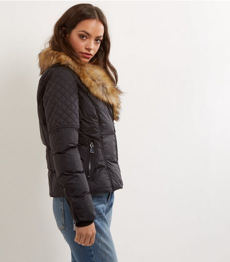 Blue Vanilla Black Faux Fur Collar Biker Jacket  | New Look