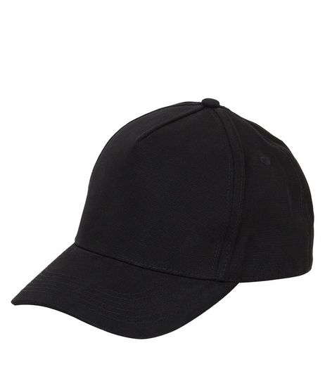 Black Cotton Snapback  | New Look