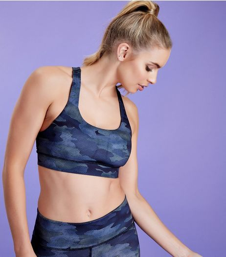 Green Camo Print Sports Crop Top | New Look