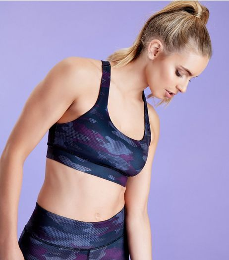 Dark Purple Camo Print Sports Crop Top | New Look