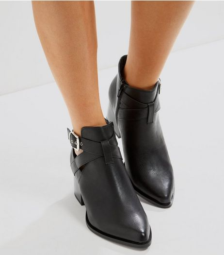 Black Cut Out Buckle Side Ankle Boots | New Look