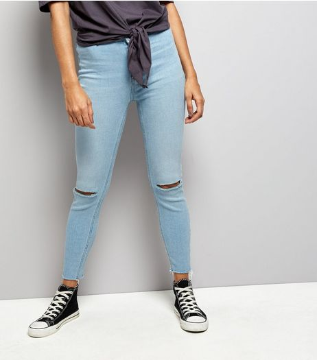Petite Pale Blue Ripped Knee Fray Hem Skinny Jeans | New Look