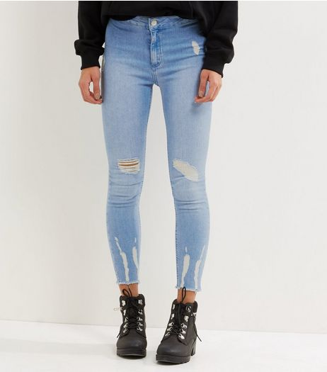 Petite Blue Ripped High Waist Skinny Jeans | New Look
