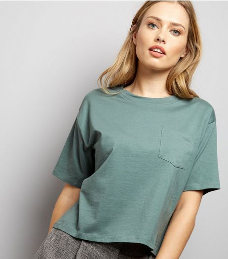 Green Boxy Pocket Front T-Shirt | New Look