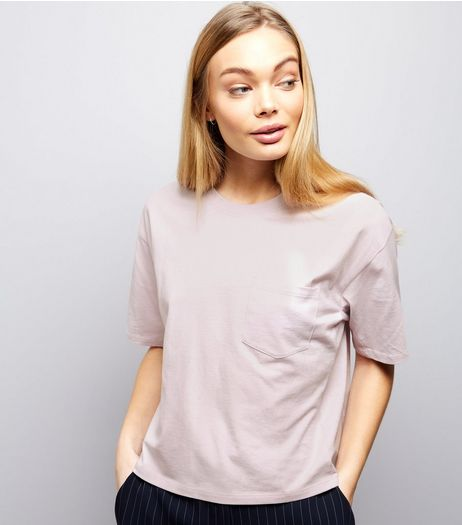 Lilac Single Pocket Boxy T-Shirt | New Look