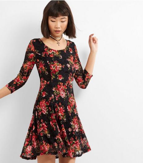 Apricot Black Lace Floral Print Skater Dress | New Look