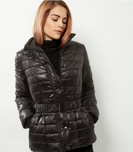 Black Belted Puffer Jacket | New Look
