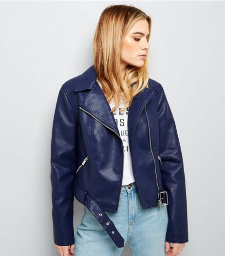 Navy Belted Leather-Look Cropped Biker Jacket  | New Look