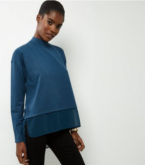Apricot Blue 2 In 1 Chiffon Jumper | New Look