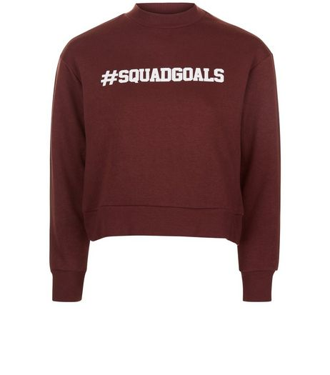 Teens Burgundy #Squadgoals Funnel Neck Sweater | New Look
