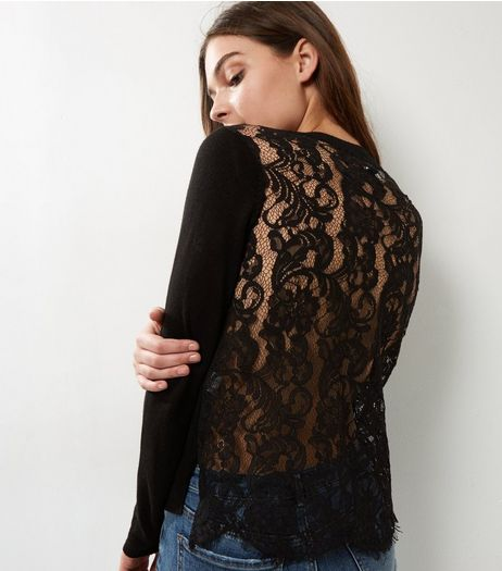 Apricot Black Lace Back Cropped Jumper | New Look