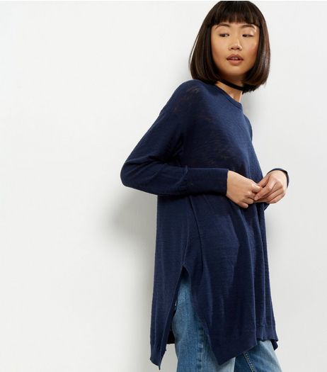 Apricot Navy Side Split Jumper | New Look