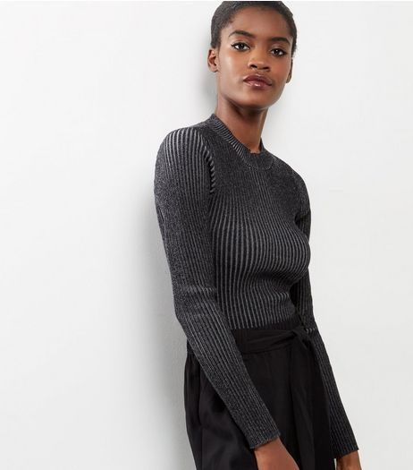 Apricot Black Ribbed Long Sleeve Top  | New Look