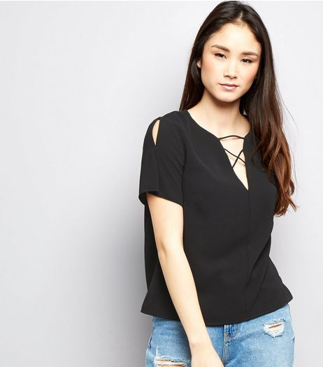 Black Lattice Front Split Sleeve T-Shirt  | New Look