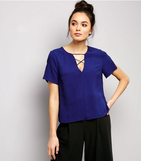 Blue Lattice Front Short Sleeve T-Shirt  | New Look