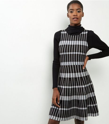 Apricot Monochrome Check Dress | New Look