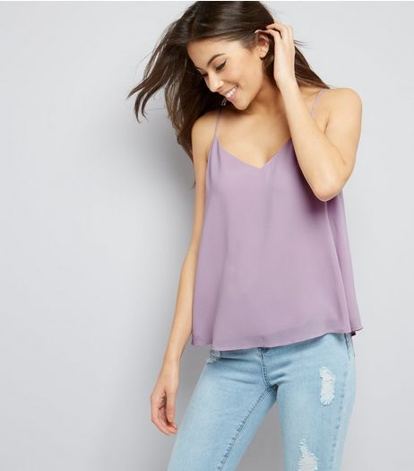 Lilac Cross Strap Back Cami Top | New Look