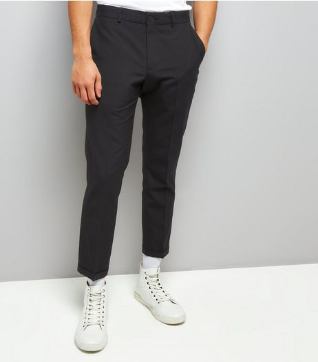 Navy Pinstripe Cropped Slim Leg Tailored Trousers | New Look