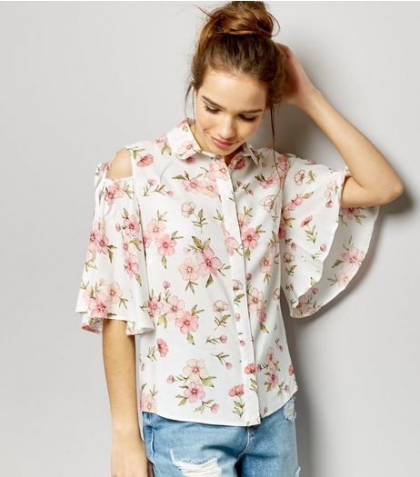 White Floral Print Cold Shoulder Shirt  | New Look