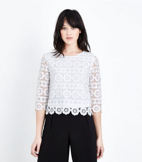 Cream Floral Lace 3/4 Sleeve Top  | New Look