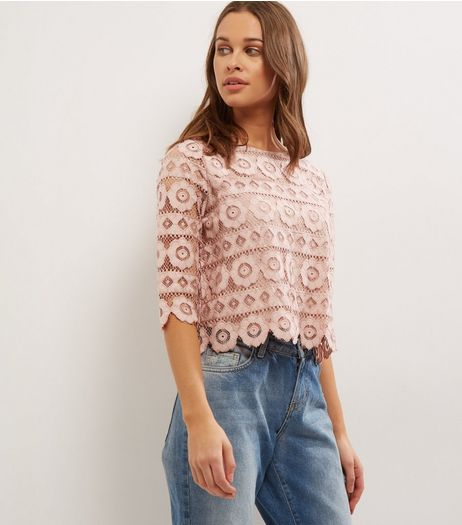 Mid Pink Lace Short Sleeve Top  | New Look