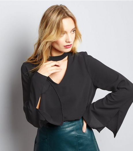 Black Choker Neck Bell Sleeve Top | New Look