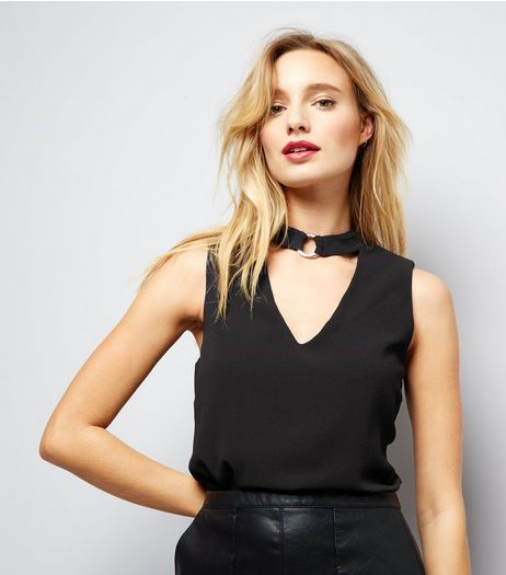 Black Ring Choker Neck Sleeveless Top  | New Look