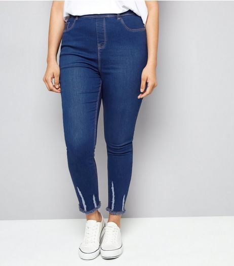 Curves Blue Ripped Hem Jeggings | New Look