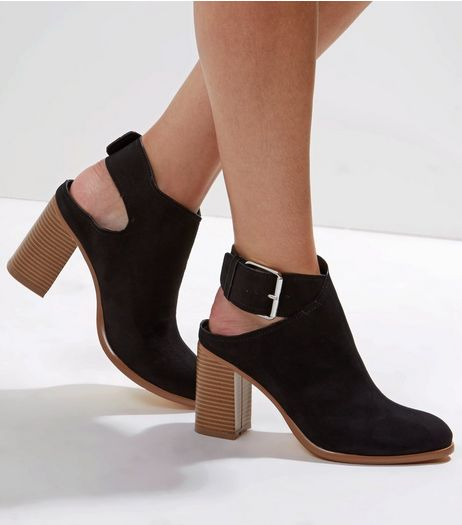 Black Suedette Cut Out Buckle Strap Heels | New Look