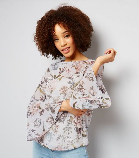 Purple Chiffon Floral Print Flared Sleeve Top  | New Look