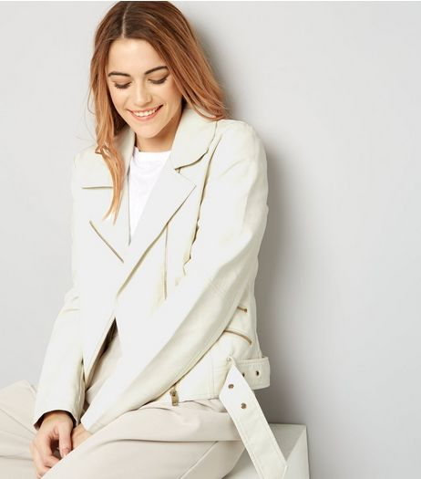 Cream Leather-Look Biker Jacket  | New Look