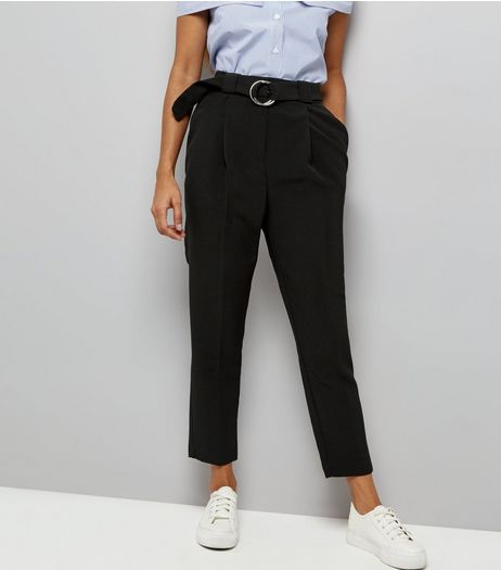 Petite Black Circle Belt Slim Leg Trousers | New Look