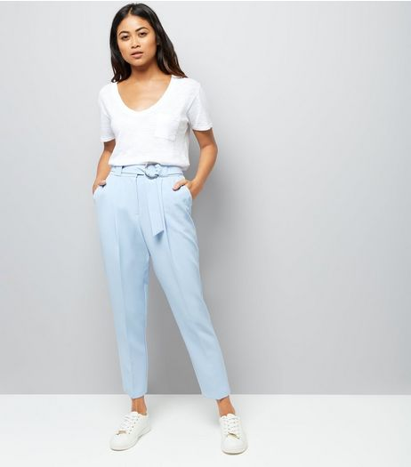 Petite Pale Blue Circle Belt Slim Leg Trousers | New Look