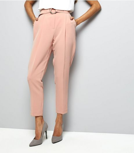 Petite Pink Circle Belt Slim Leg Trousers | New Look